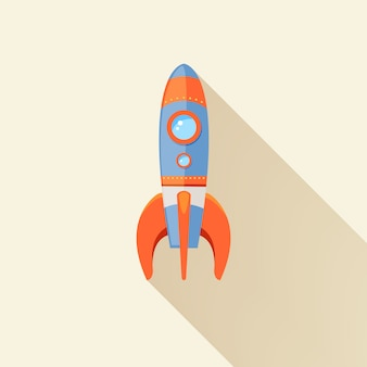 Space rocket ship start cartoon futuristic travel emblem with stars vector illustration