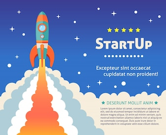 Space rocket ship start up cartoon futuristic background with stars on background vector illustration