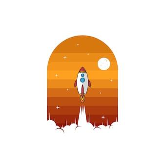 スペースロケットシャトル船サインロゴロゴタイプベクトル