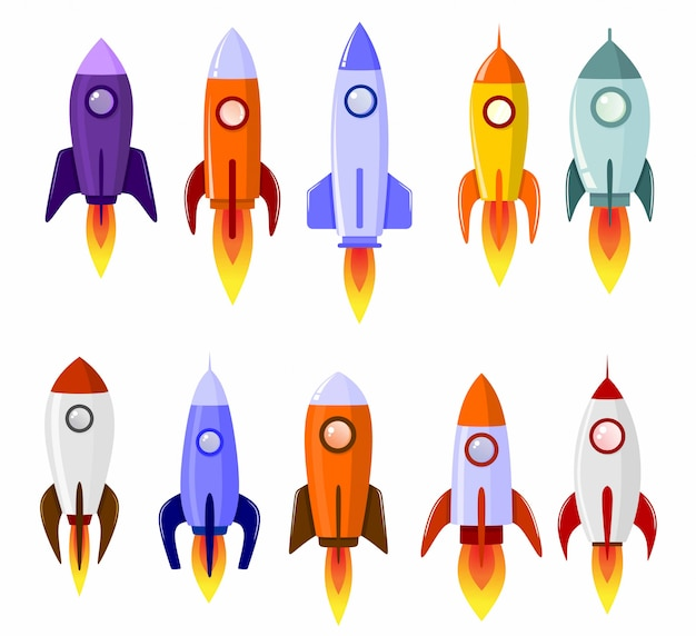 Space rocket start up concept launch symbol set