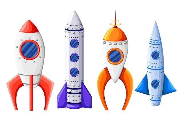 Space rocket start up and launch symbol new businesses innovation development flat design icons set template illustration.