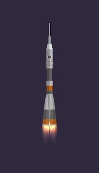 Space rocket in universe icon