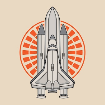 Space rocket vector logo design