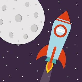 未来と宇宙をテーマにした星空を背景にした月の宇宙ロケット