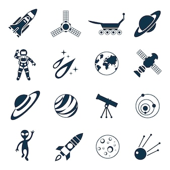 Space and rockets astronomy icon set