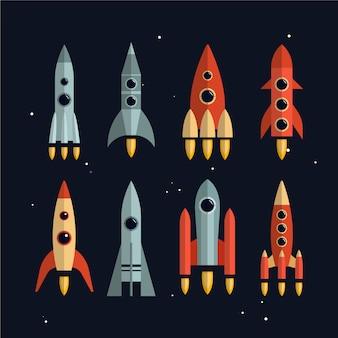 우주 로켓 벡터 평면 스타일에서 설정합니다. 우주 탐사 및 사업 시작 개념을 시작합니다. 고립 된 디자인 요소입니다.