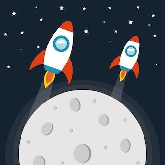Космические ракеты с луной на звездном фоне футуристической и космической темы