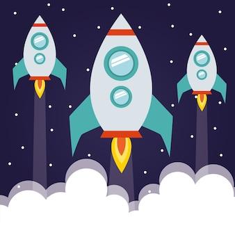 Космические ракеты с дымом на звездном фоне футуристической и космической темы