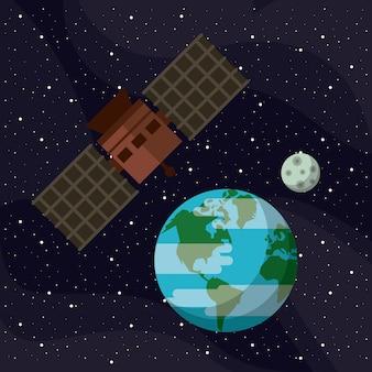 Космический спутник, летающий вокруг земли