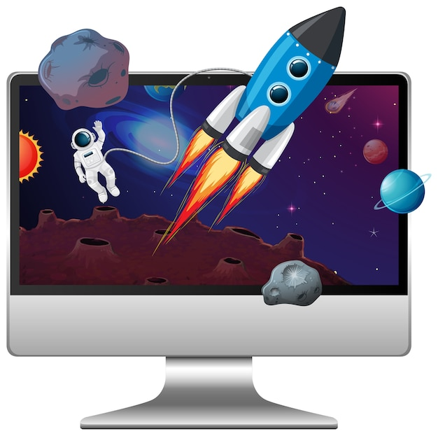 Space scene on computer desktop