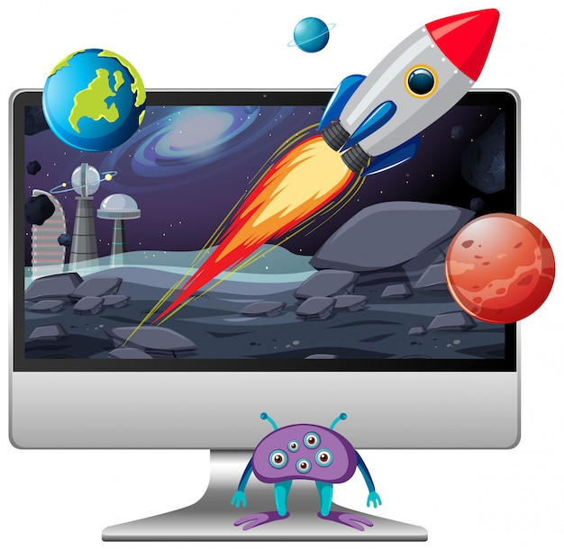Космическая сцена на фоне рабочего стола компьютера