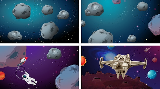 우주 장면 세트 또는 배경