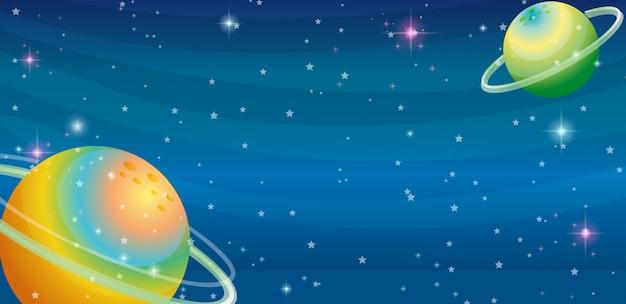 두 행성이있는 우주 장면