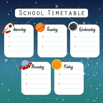 Space school timetable