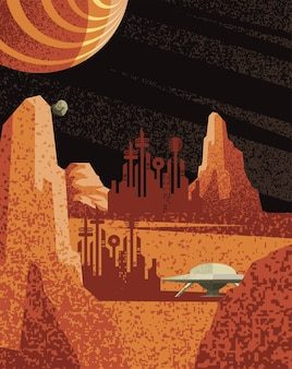 Space sci-fi city and ufo on planet of universe cosmos and futuristic theme