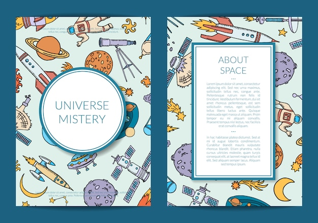 Space science card template or flyer
