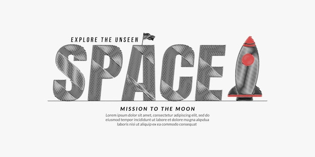 Space scribble text design background space lettering typography concept with rocket