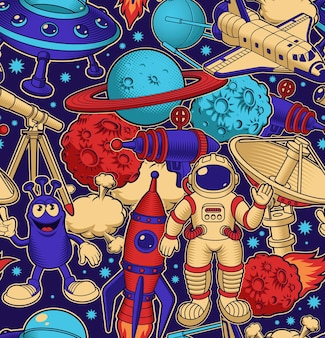 Space seamless background in cartoon style, perfect for wallpapers