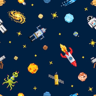 Space seamless pattern background, alien spaceman, robot rocket and satellite cubes solar system