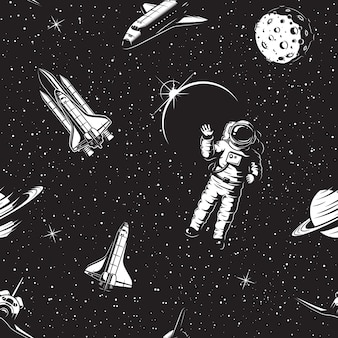 Space seamless pattern. black and white version.