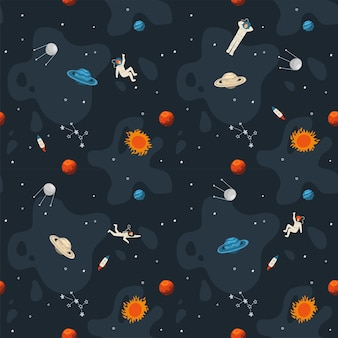 Space seamless pattern. cute template with astronaut, , rocket, saturn, planets , stars in outer space. hand drawn flat.