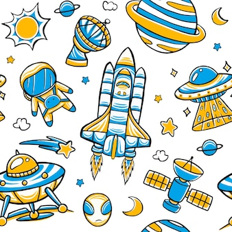Space seamless pattern in flat design style