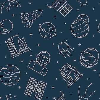 Space seamless pattern. futuristic universe background with astronaut shuttle rocket stars and planets