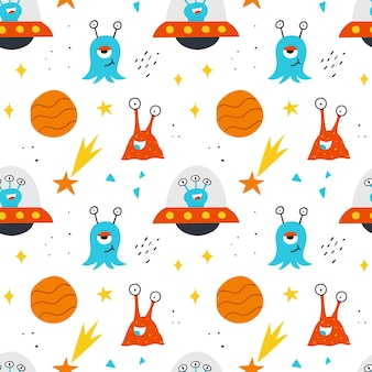 Space seamless pattern for kids design. vector hand-drawn background with cute aliens, planets, stars and ufo.