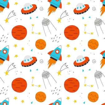 Space seamless pattern for kids. vector hand-drawn background with cute rocket, planets, stars and ufo.