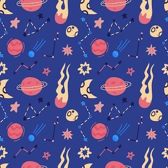 惑星、軌道、空飛ぶ円盤、星のスペースのシームレスなパターン。漫画のフラットスタイルのコスモスの背景。図。漫画のアイコン。