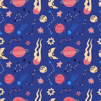 Space  seamless pattern of planets, orbits, flying saucer, stars. cartoon flat style cosmos background.  illustration. cartoon icons.