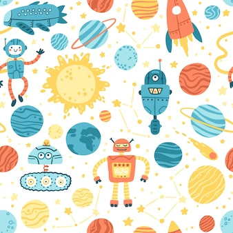 Space seamless pattern with alien spaceship, rocket