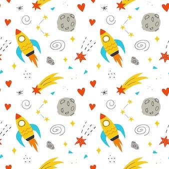 Космический бесшовный образец с милой ракетой, луной, сердцами и звездами. векторный рисованный фон.