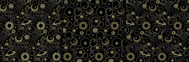 Космические бесшовные модели для фонов обоев текстильные принты