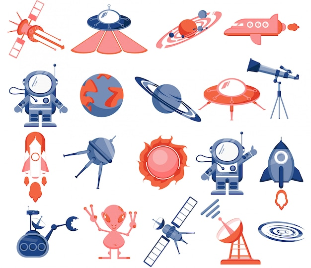 Space set, astronaut, alien, rockets, space planes, satellites, flying saucers, robot, planets, solar system, stars, rover, radar, sun, telescope.