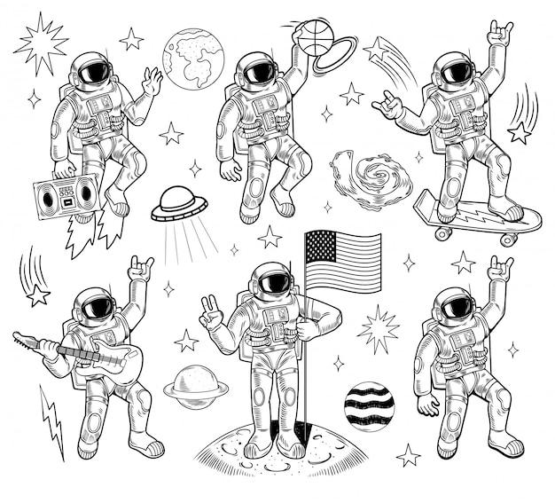 Космический набор, расслоение, гравировка, коллекция с различными космонавтами, скафандрами, планетами земли, звездами, нло, галактиками, метеоритами. каракули карикатура иллюстрации.