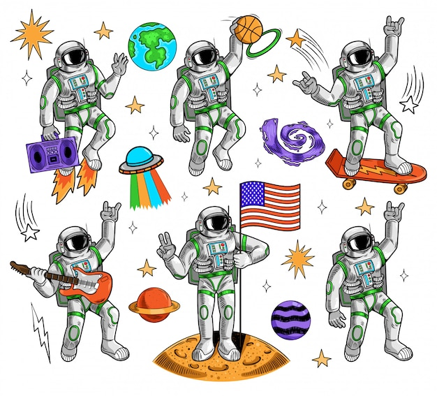 Space set bundle engraving collection with different astronauts space suit earth planets stars ufo galaxy meteorite vintage doodle cartoon illustration pop art comics style children kids print design.