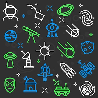 Space set of flat icons.