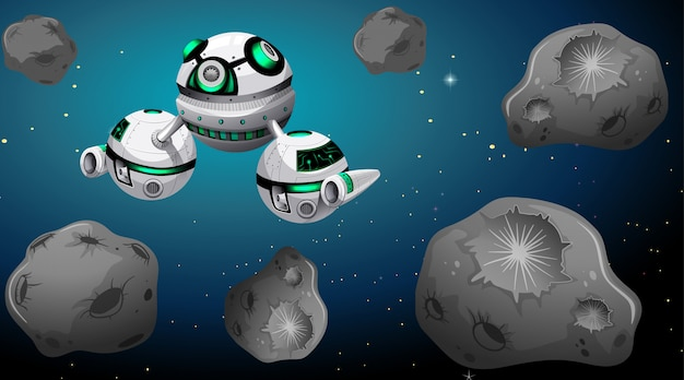 Space ship and asteroid scene