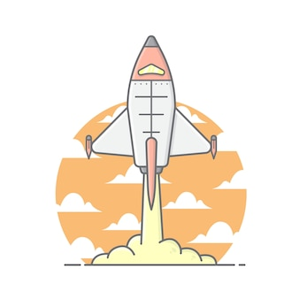 Space ship illustration with clouds and sky