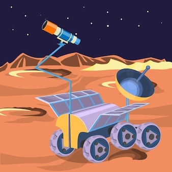 Space ship investigate planet in space. explore of barren moon on a rover. expendable spacecraft on moon surface making researchers of craters and stars realistic . can be boarded by astronauts
