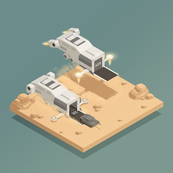 Space ship isometric composition
