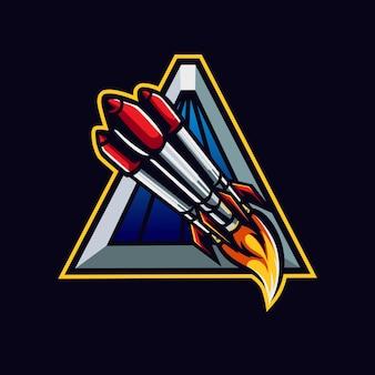 ゲームまたはeスポーツのロゴバッジ用の宇宙船のロゴマーク