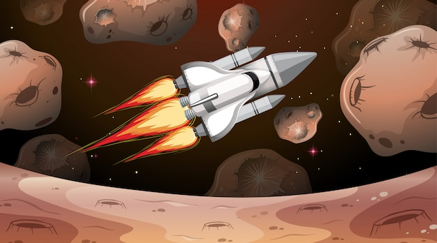 Space shuttle flying through asteroids