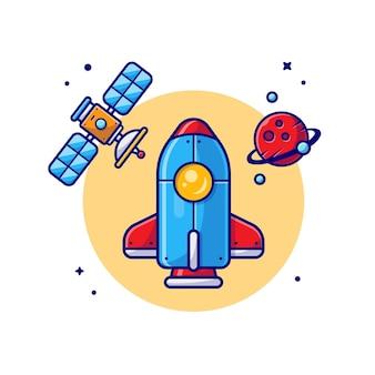 Космический шаттл, летящий с планетой и спутником, мультяшный значок иллюстрации.