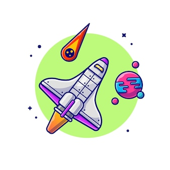 Space shuttle flying with planet and meteorite space cartoon icon illustration.