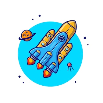 Space shuttle flying with planet and satellite space cartoon icon illustration.