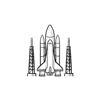 우주 왕복선 손으로 그린 개요 낙서 아이콘입니다. 로켓 발사 및 우주선, 위성 캐리어, 우주 비행사 개념