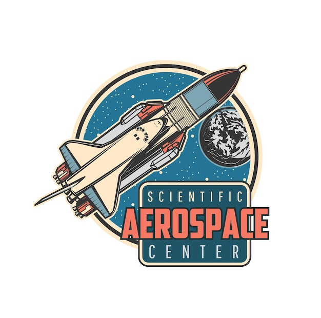 Space shuttle icon, carrier rocket and spaceship