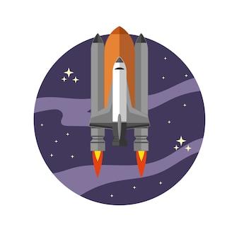 白い背景の上のスタイルのスペースシャトル。図